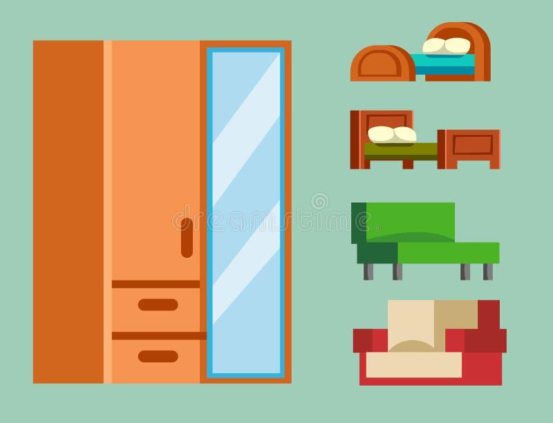 Isoleerde de bank vectorillustratie meubilair binnenlandse het leven eenvoudige de ruimtereeks van het elementen comfortabele bin vector illustratie