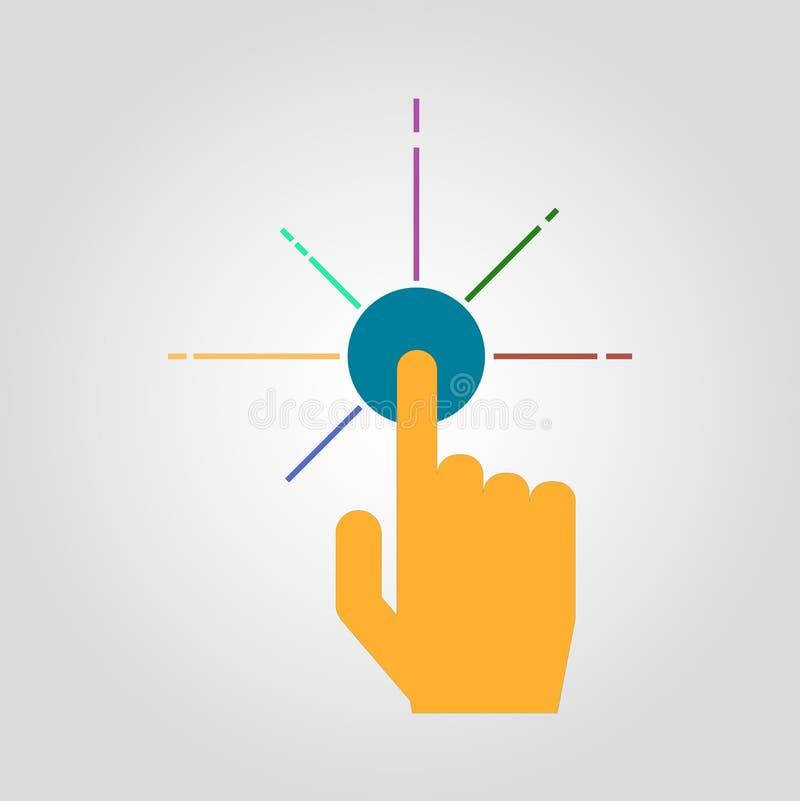 Isoleerde de interactieve interface van de vingerduw vlakke affiche vector illustratie