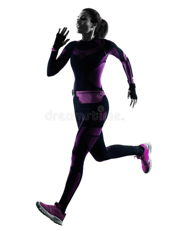 Isoleerde de lopende jogger jogging van de vrouwenagent silhouetschaduw stock afbeelding