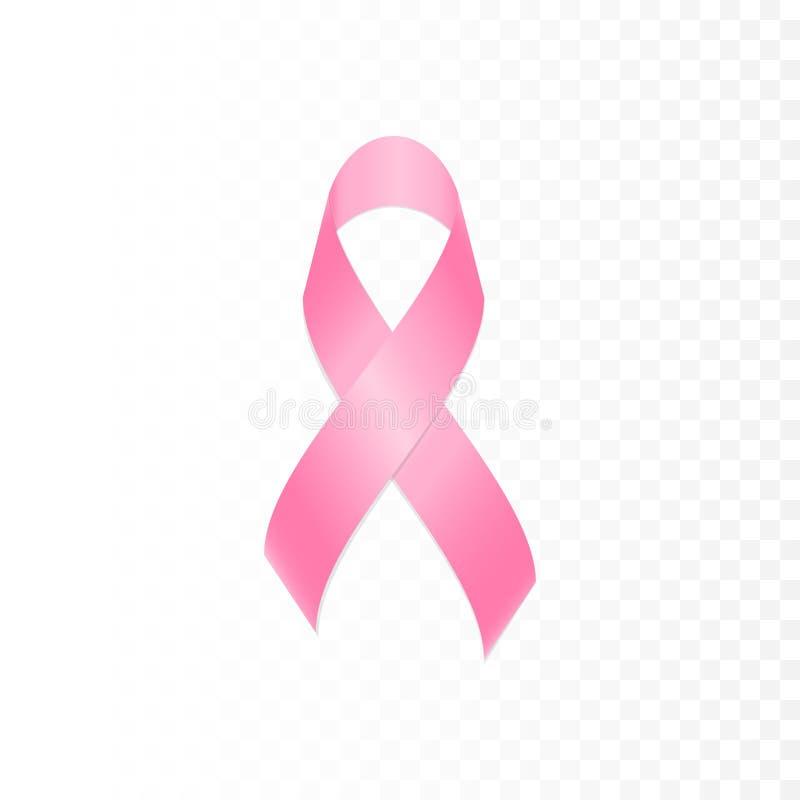 Isoleerde het lint roze symbool van borstkanker transparante achtergrond royalty-vrije illustratie