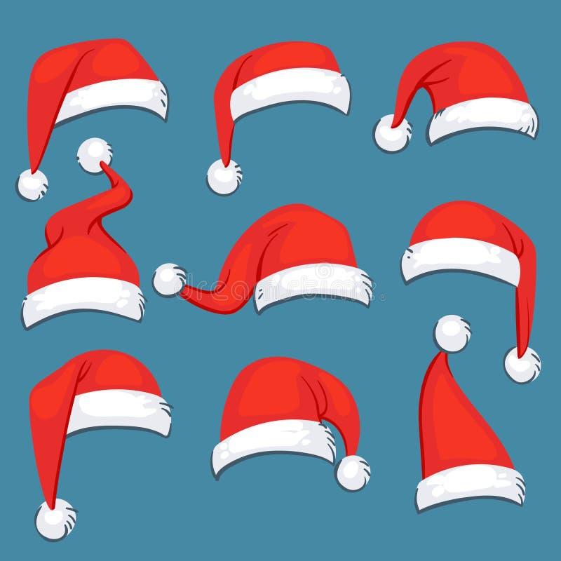 Isoleerden de rode het beeldverhaalhoeden van de Kerstmiskerstman vectorreeks vector illustratie