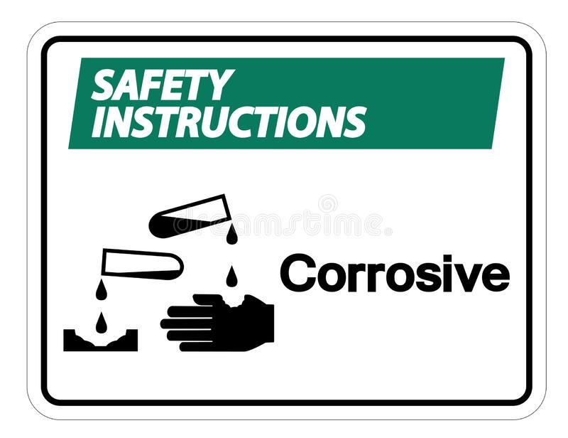 Isoleert het Corrosieve het Symboolteken van veiligheidsinstructies op Witte Achtergrond, Vectorillustratie vector illustratie