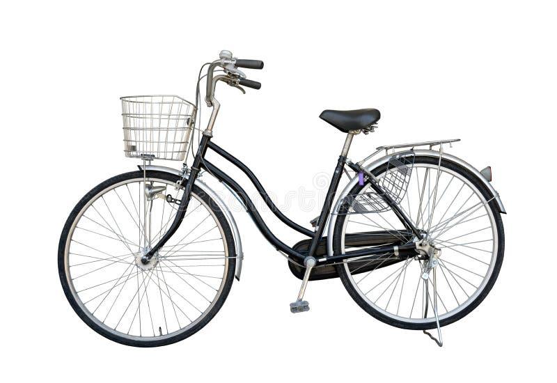 Isoleert het fiets zwarte oude meisje voor tweede hand van Japan, op wit stock fotografie