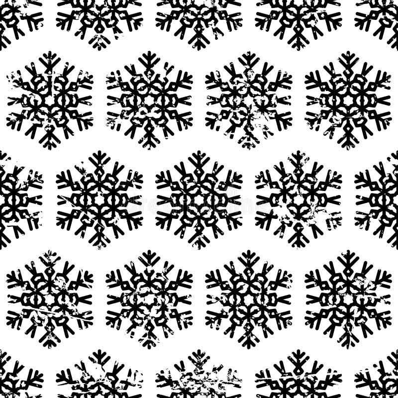 Isoleert het hand getrokken vector naadloze patroon met zwarte sneeuwvlokken vector illustratie