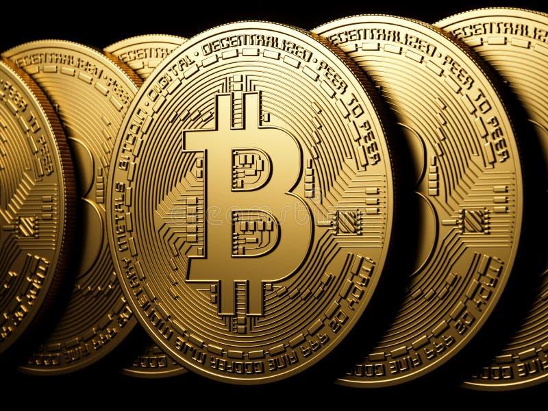 Isolement d'or de Bitcoin sur le noir illustration stock