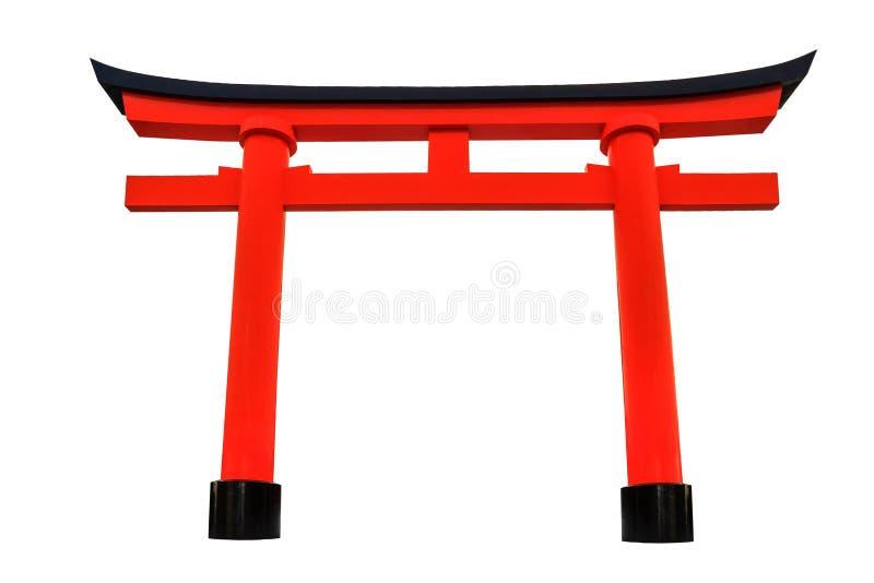 Isolement rouge Japonais-dénommé de voûte (Torii) photos stock