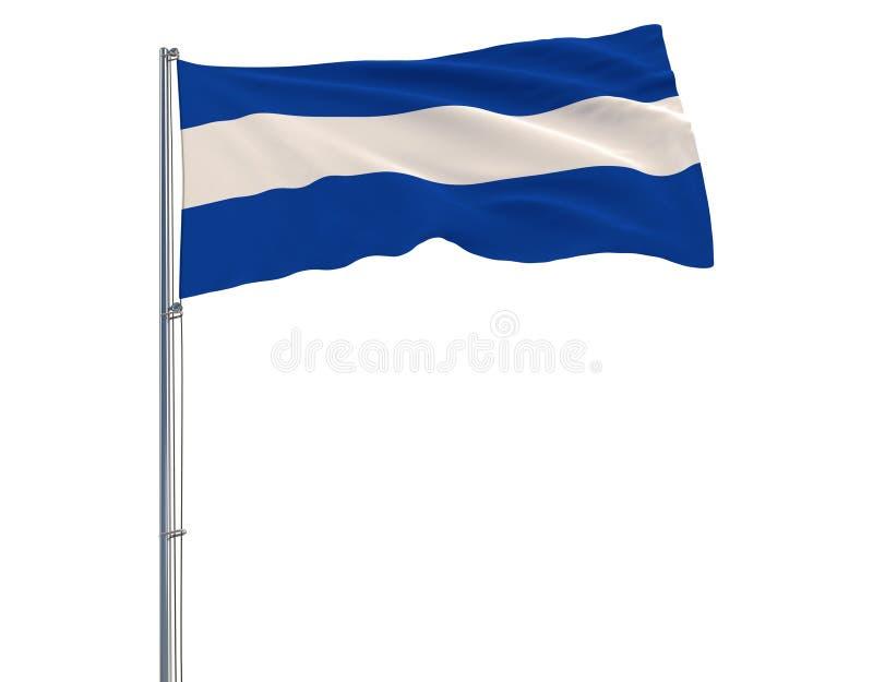 Isolera den borgerliga flaggan av El Salvador på en flaggstång som fladdrar i vinden på en vit bakgrund, tolkningen 3d vektor illustrationer