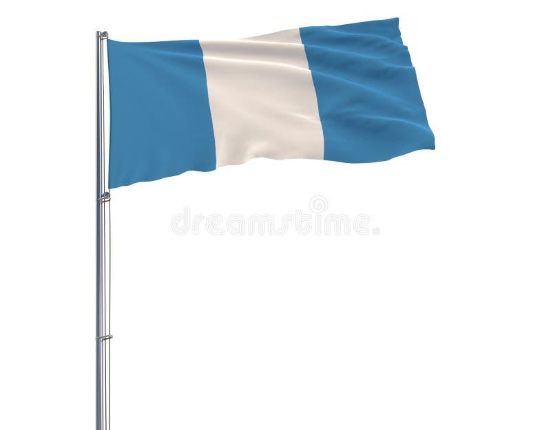 Isolera den borgerliga flaggan av Guatemala på en flaggstång som fladdrar i vinden på en vit bakgrund, tolkningen 3d royaltyfri illustrationer