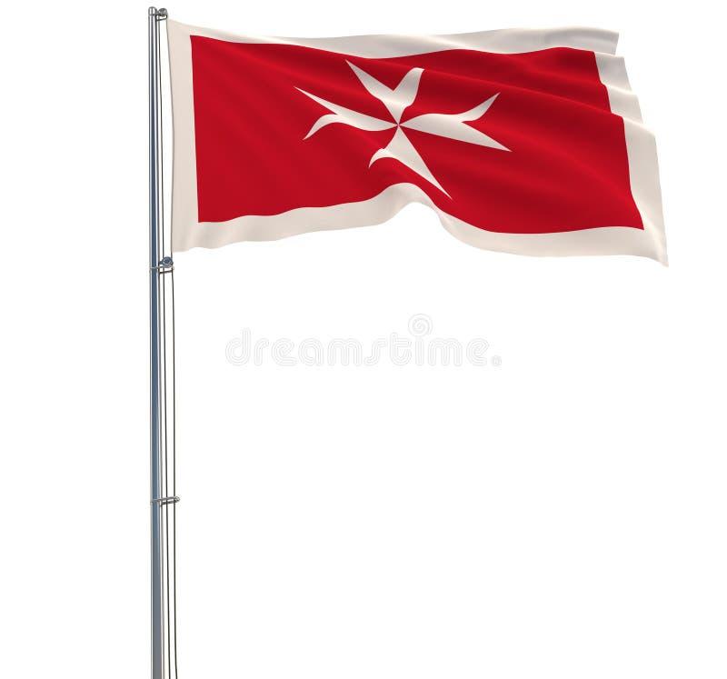 Isolera den borgerliga flaggan av Malta - sjunka på en flaggstång som fladdrar i vinden på en vit bakgrund, tolkningen 3d vektor illustrationer