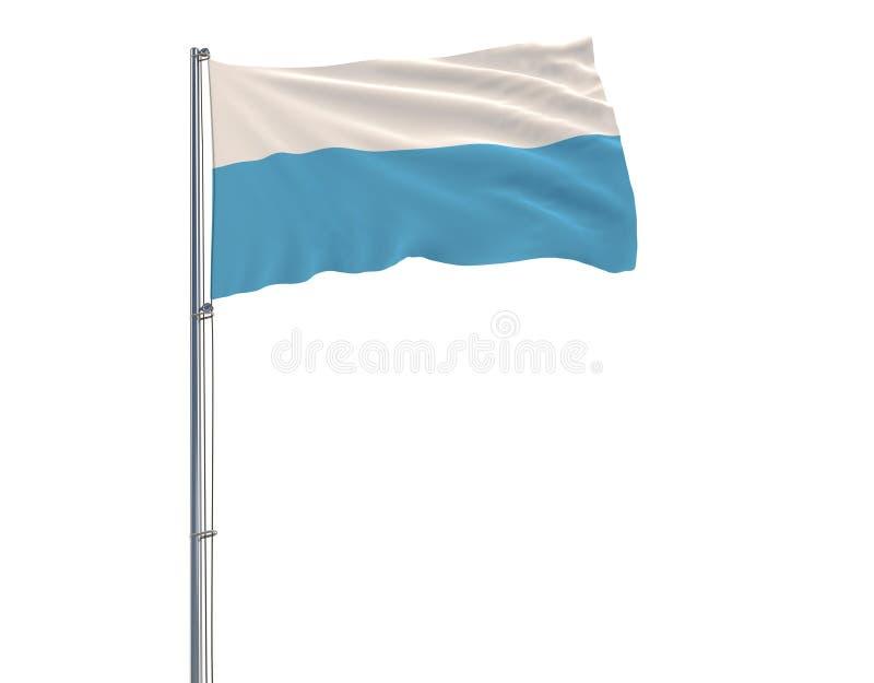 Isolera den borgerliga flaggan som är sanmarinsk på en flaggstång som fladdrar i vinden på en vit bakgrund, tolkningen 3d royaltyfri illustrationer