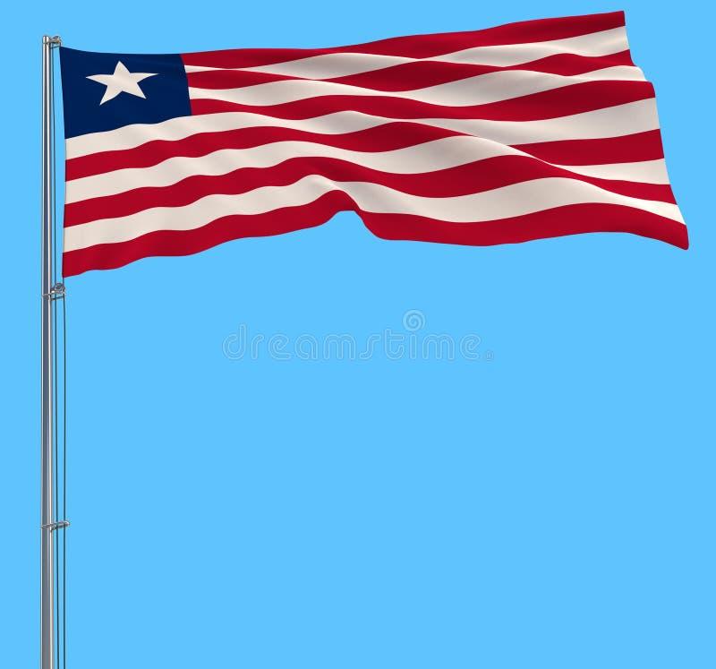 Isolera flaggan av Liberia på en flaggstång som fladdrar i vinden på en blå bakgrund, tolkningen 3d stock illustrationer
