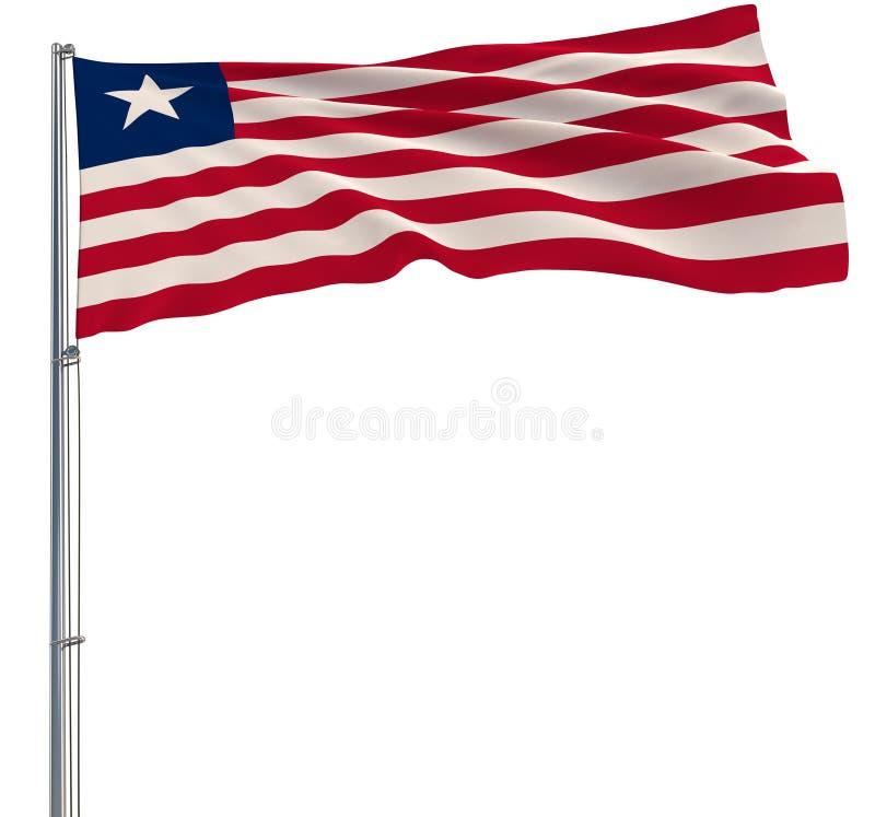 Isolera flaggan av Liberia på en flaggstång som fladdrar i vinden på en vit bakgrund, tolkningen 3d stock illustrationer