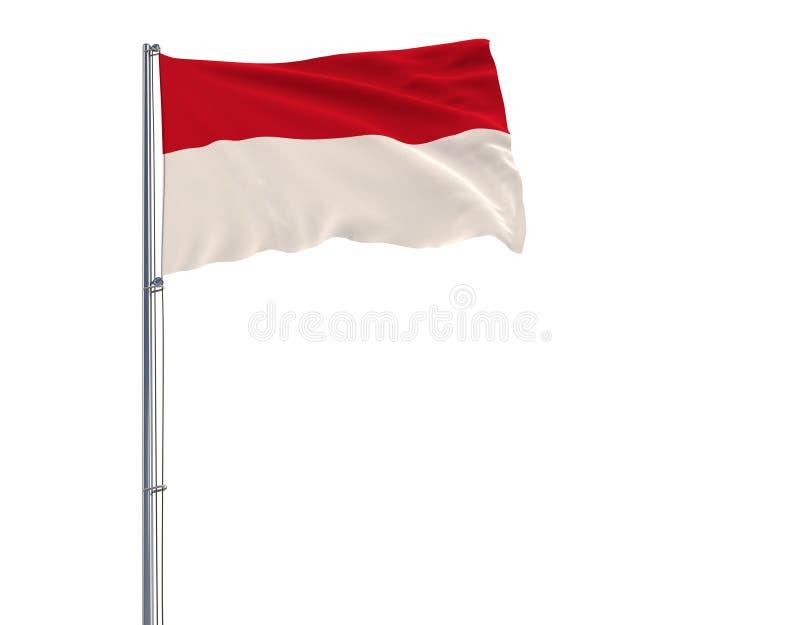 Isolera flaggan av Monaco på en flaggstång som fladdrar i vinden på en vit bakgrund, tolkningen 3d royaltyfri illustrationer