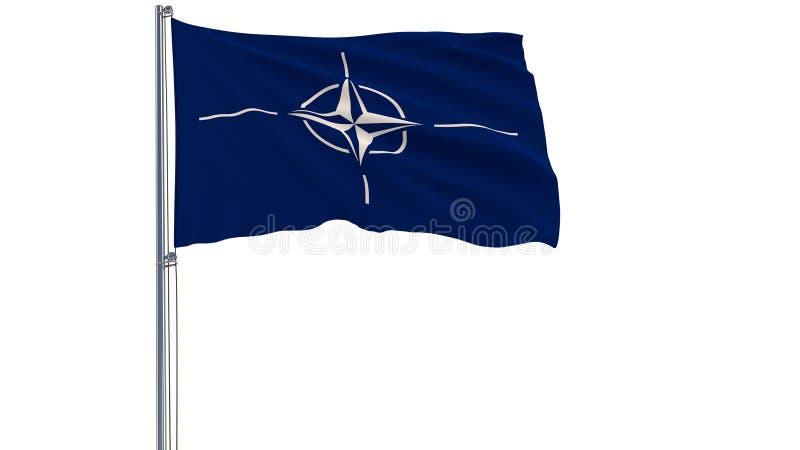 Isolera flaggan av organisationen för fördraget för norrAtlanten - NATO på en flaggstång som fladdrar i vinden på en vit backgrou stock illustrationer