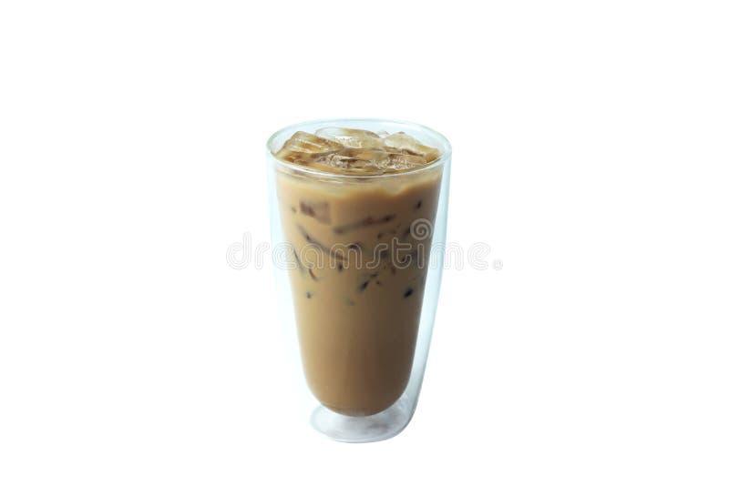 Isolera med is kaffe i exponeringsglas på vit bakgrund royaltyfri foto