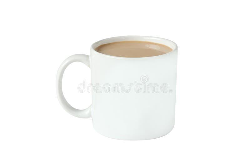 Isolera varmt kaffe i exponeringsglas på vit bakgrund royaltyfri fotografi