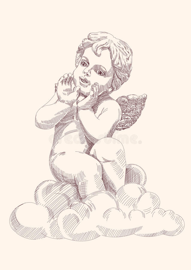 isolerad ängelcupid royaltyfri illustrationer