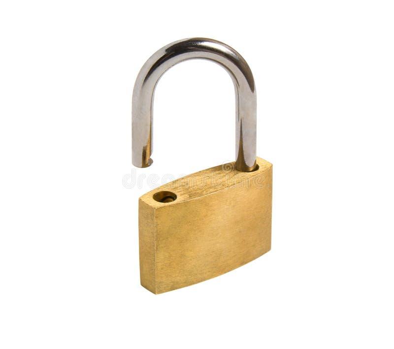 isolerad öppnad padlock royaltyfri bild