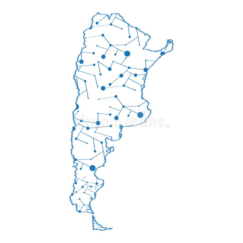 Isolerad översikt av Argentina vektor illustrationer