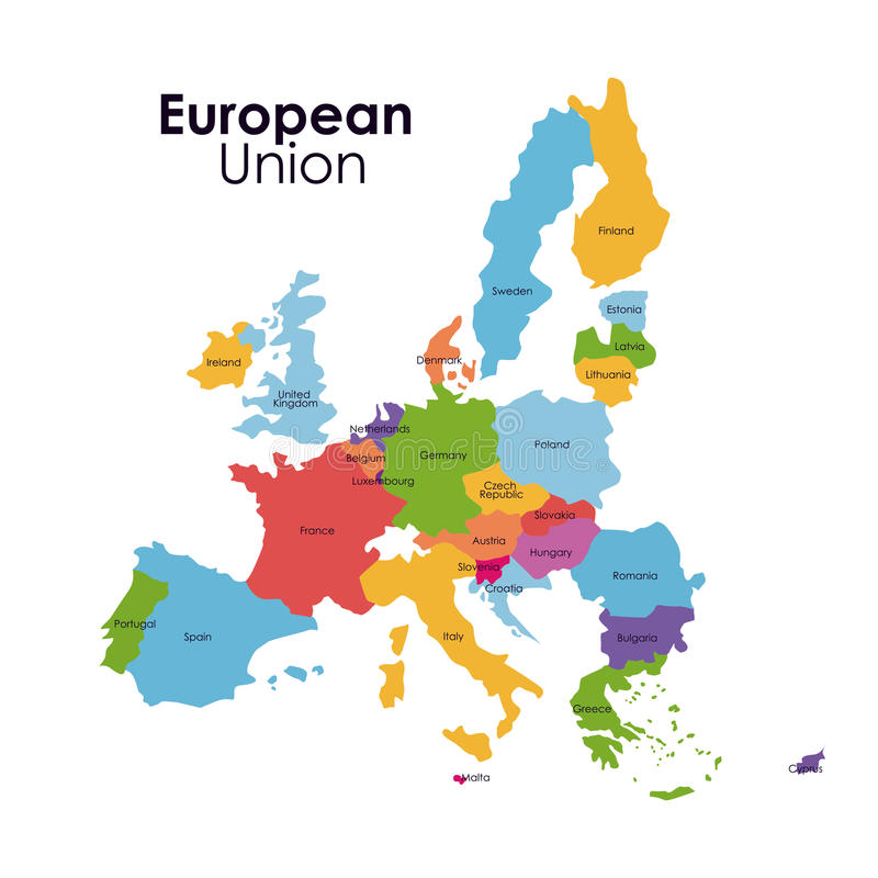 Isolerad översiktsdesign för europeisk union vektor illustrationer