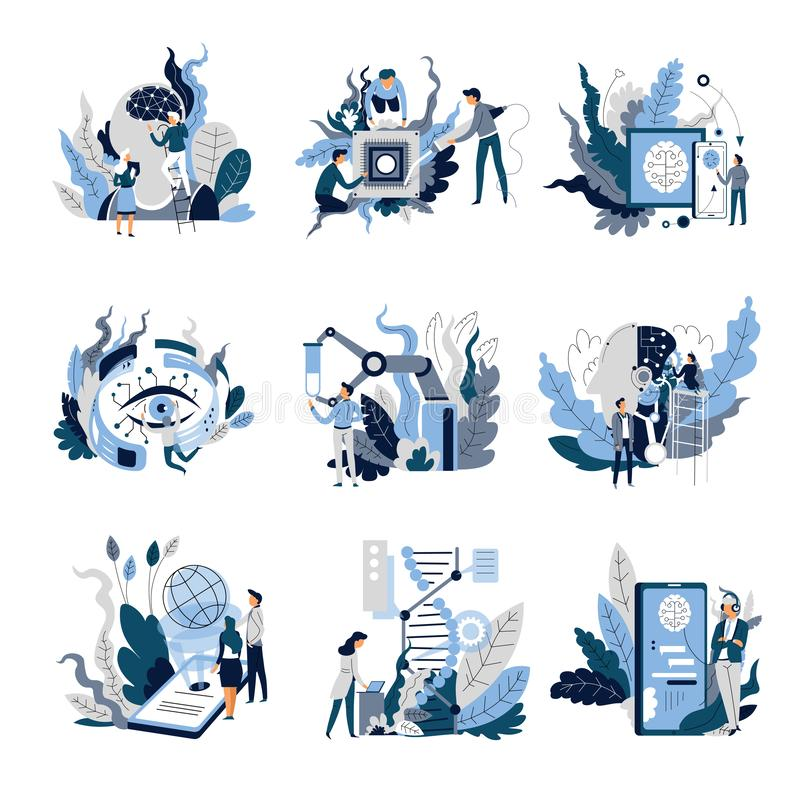 Isolerad abstrakt begreppsvetenskap och teknik för konstgjord intelligens vektor illustrationer