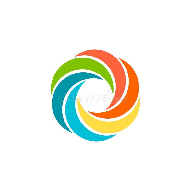 Isolerad abstrakt färgrik rund sollogo Regnbågelogotyp för rund form Virvel-, tromb- och orkansymbol Spining vektor illustrationer