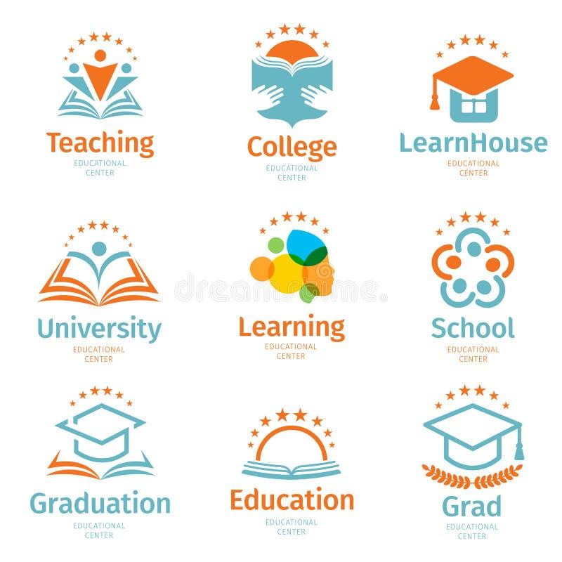 Isolerad abstrakt färgrik utbildning och lär logouppsättningen, universitetet och skolböcker, doktorand- hattar och människan royaltyfri illustrationer