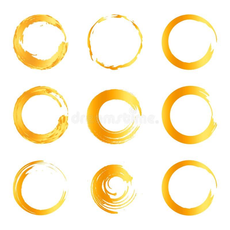 Isolerad abstrakt för färglogo för rund form orange samling, sollogotypuppsättning, geometrisk cirkelvektorillustration royaltyfri illustrationer