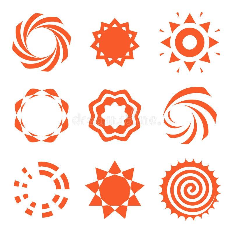Isolerad abstrakt för färglogo för rund form orange samling, sollogotypuppsättning, geometrisk cirkelvektorillustration stock illustrationer
