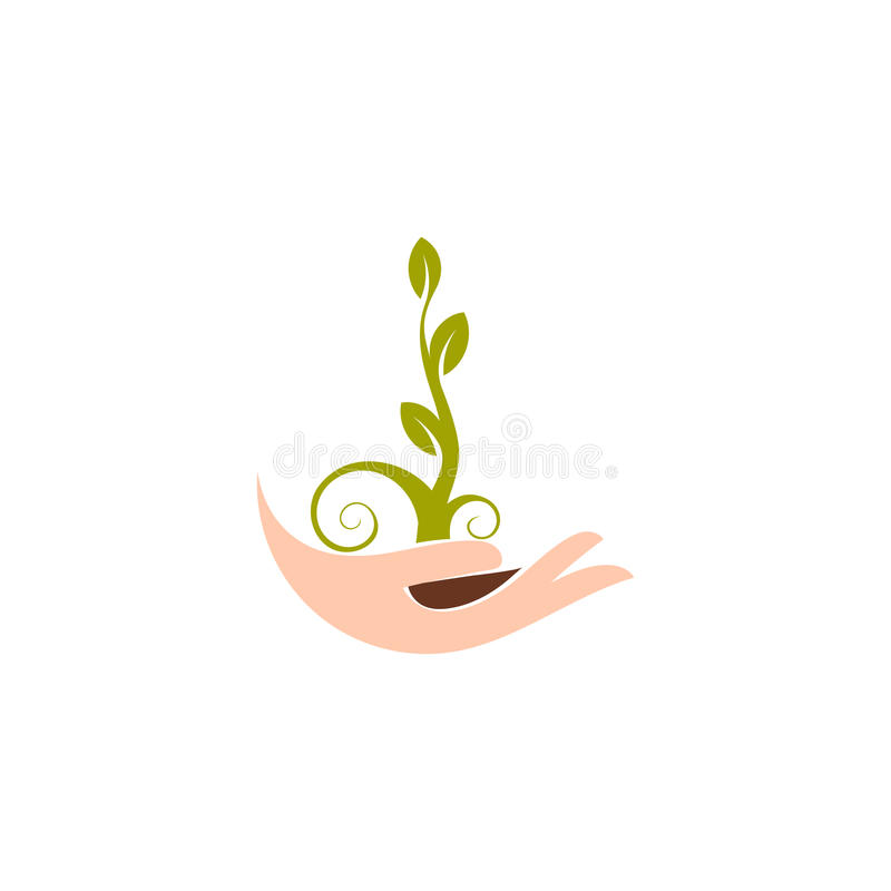 Isolerad abstrakt naturlig logotyp Växten för grön färg i människa räcker logo Grodden gömma i handflatan in symbolen Arbeta i tr stock illustrationer