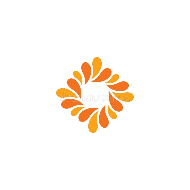Isolerad abstrakt orange färglogo Rombformlogotyp Blommakronbladsymbol Blom- dekorativt tecken Naturbeståndsdel royaltyfri illustrationer