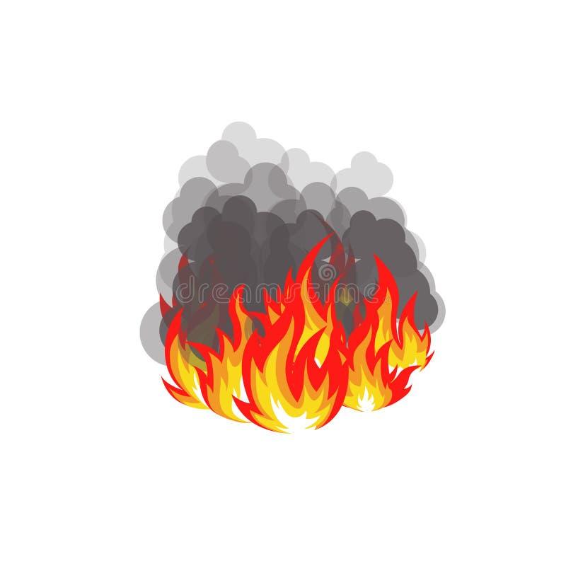 Isolerad abstrakt röd och orange färgflammalogo på vit bakgrund Lägereldlogotyp Skogsbrandsymbol kryddig mat royaltyfri illustrationer