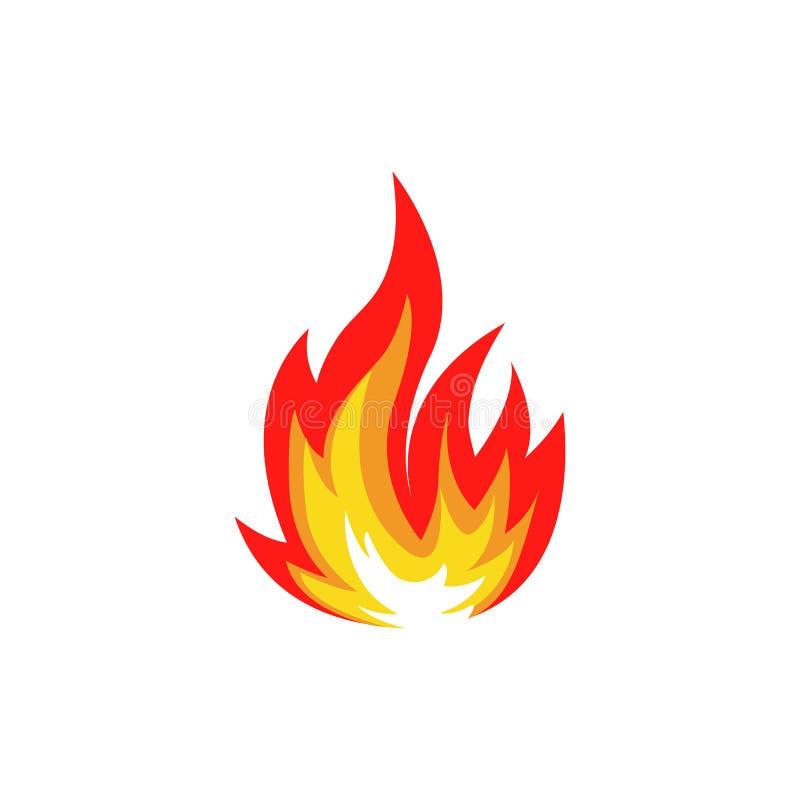 Isolerad abstrakt röd och orange logo för färgbrandflamma på vit bakgrund Lägereldlogotyp Kryddigt matsymbol värme stock illustrationer