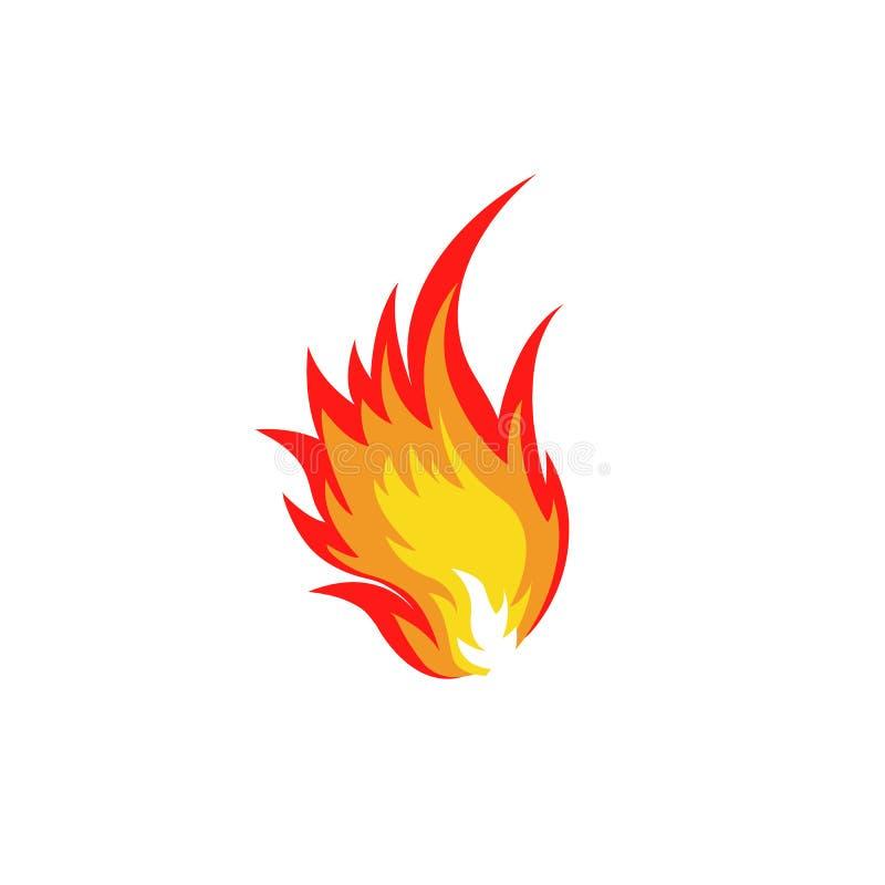 Isolerad abstrakt röd och orange logo för färgbrandflamma på vit bakgrund Lägereldlogotyp Kryddigt matsymbol värme vektor illustrationer