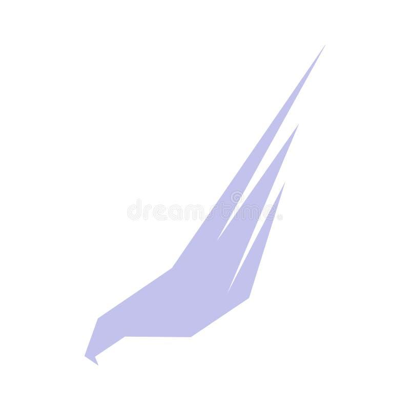Isolerad abstrakt violett färgörn, hök av falkkonturlogoen Farlig jaktfågellogotyp Påskyndar symbolen _ stock illustrationer