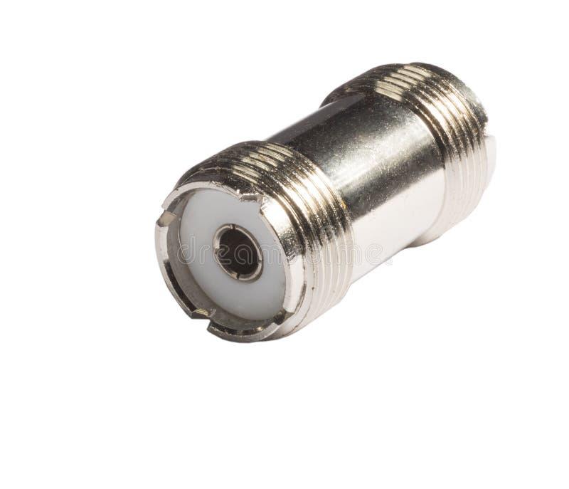 Isolerad adapter SO-239 royaltyfria foton