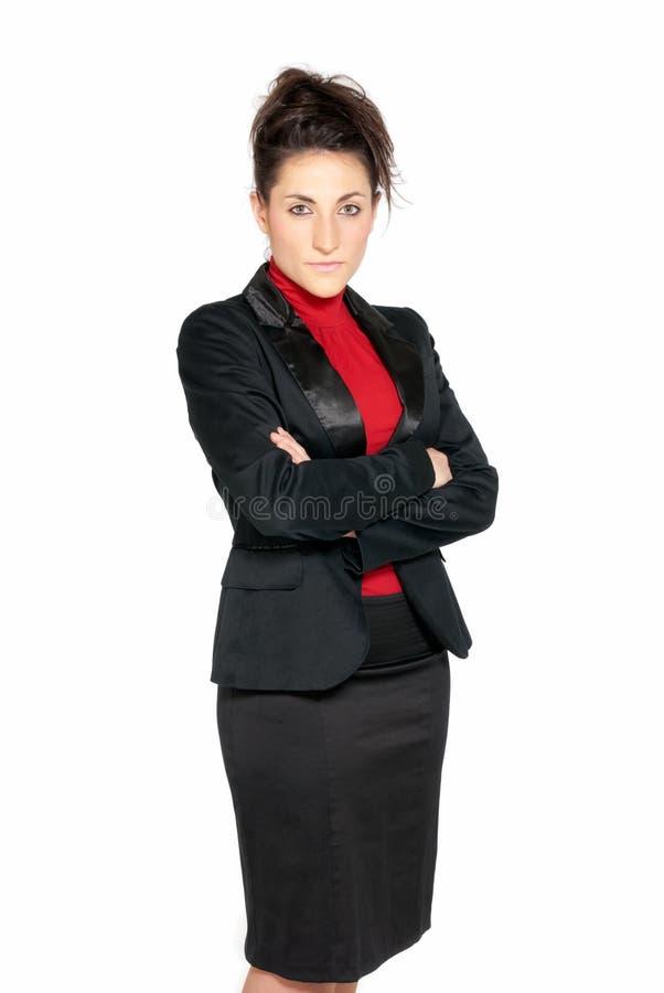 isolerad affärskvinna se allvarlig white fotografering för bildbyråer