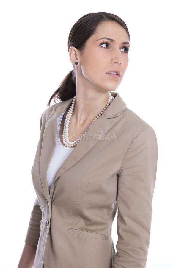 Isolerad affärskvinna som från sidan eller bort ser royaltyfria foton