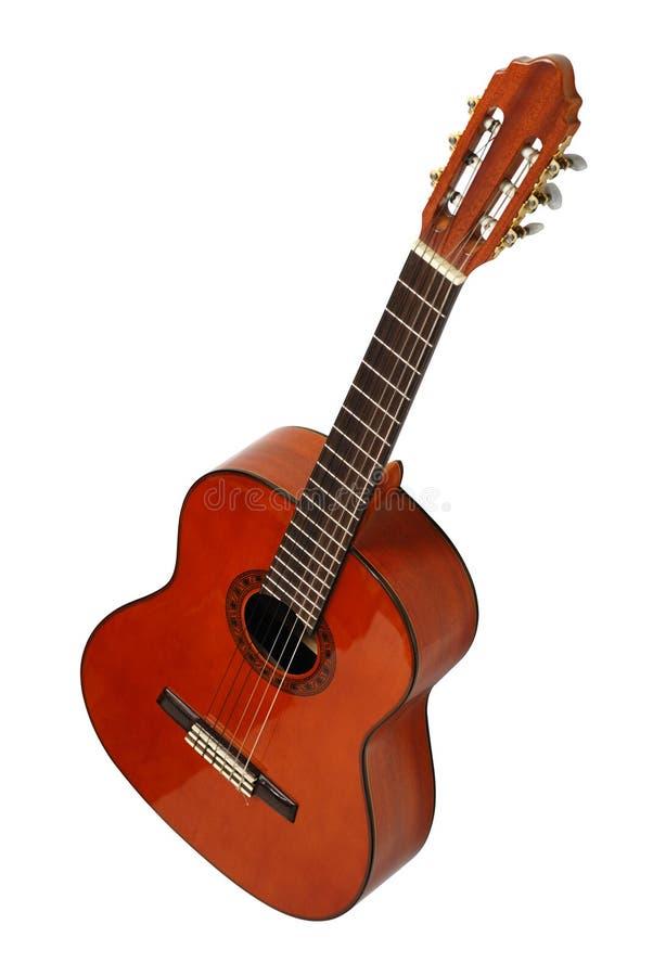 isolerad akustisk gitarr arkivbild