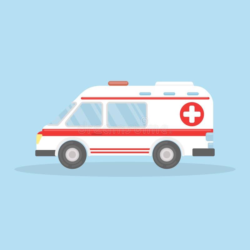 Isolerad ambulansbil royaltyfri illustrationer