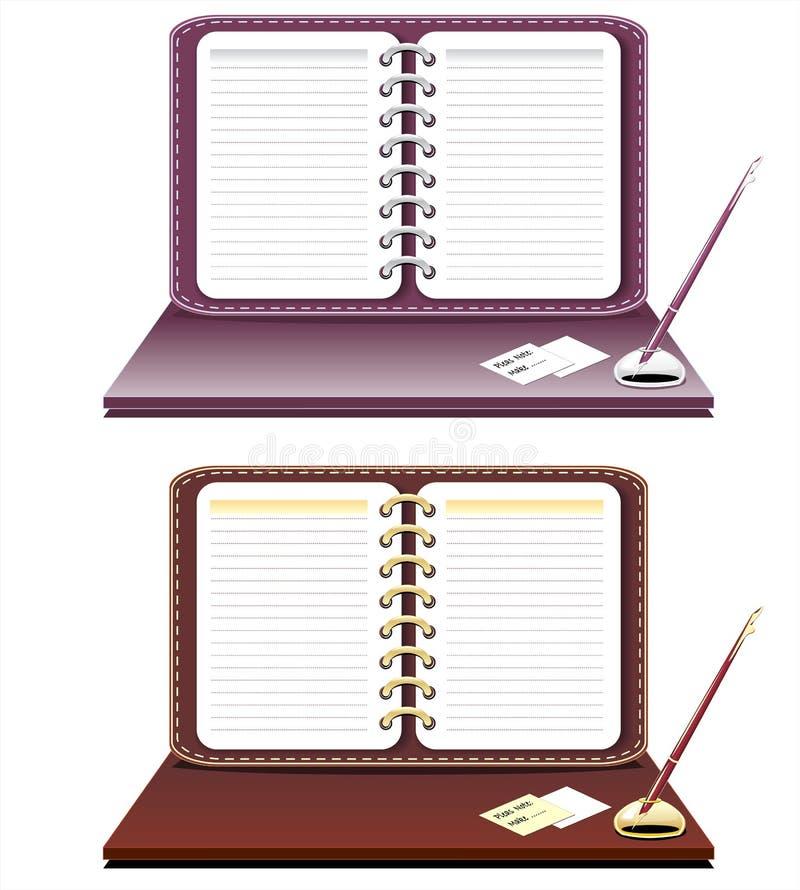 isolerad anteckningsbokpenna stock illustrationer