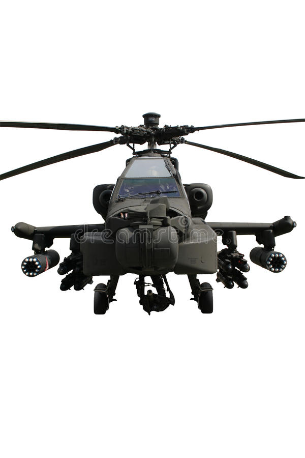 isolerad apache helikopter royaltyfri bild