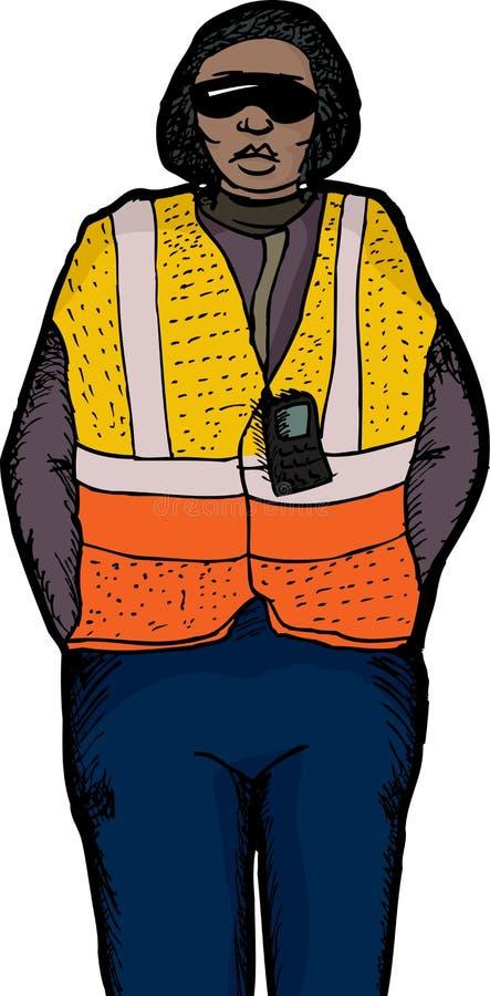 Isolerad arbetare i säkerhetsväst royaltyfri illustrationer