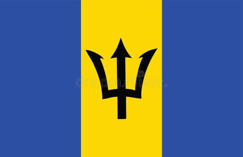 Isolerad Barbados original- flagga royaltyfri illustrationer