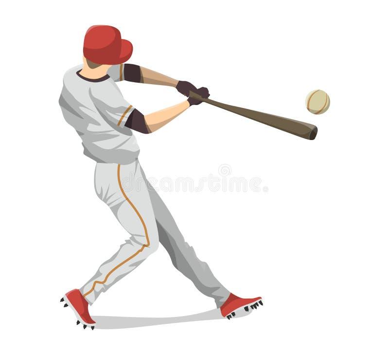 Isolerad basebollspelare vektor illustrationer