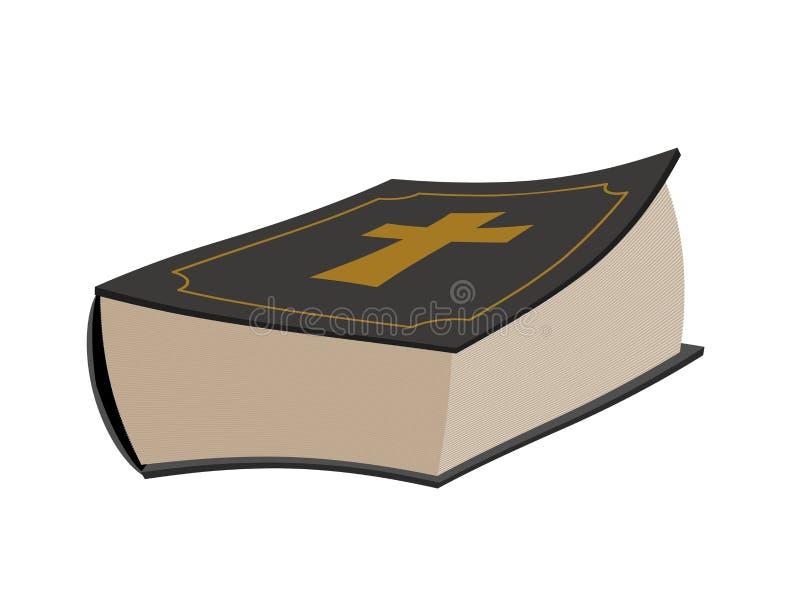 isolerad bibel Helig bok på vit bakgrund Psalmer med korset royaltyfri illustrationer