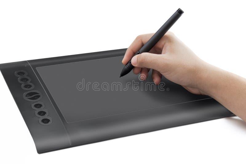 Isolerad bild av pennfliken med handen arkivbild