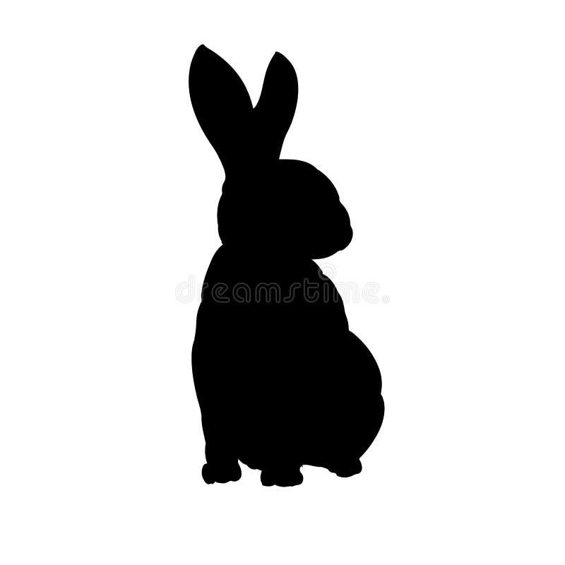 Isolerad bild för kaninkonturhand utdragen vektor vektor illustrationer