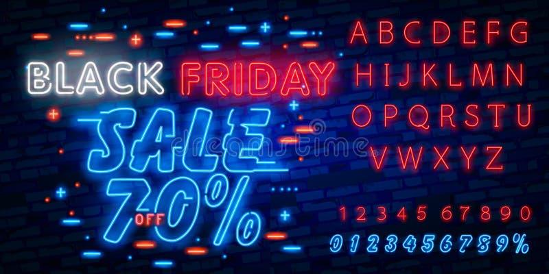 Isolerad Black Friday vektor, affischbaner i neonstil Ljusa teckenförsäljningsBlack Friday rabatter Redigera textneontecknet neon arkivfoton