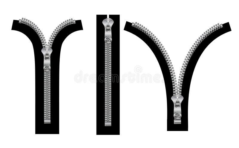 Isolerad blixtlås i stängda och öppna positioner stock illustrationer